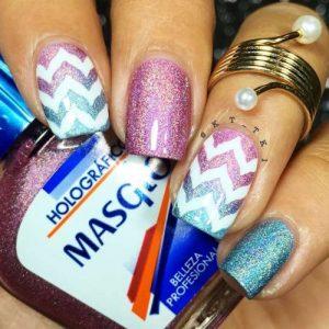 Elegant colorful Chevron design nail art