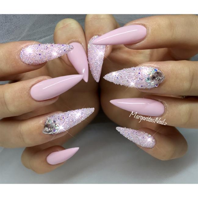 Elegant light shade stone Edgy nail art
