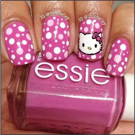 Elegent pulple dotted Hello kitty nail art