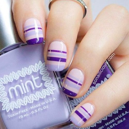 Elegant purple pink Color blocking nail art