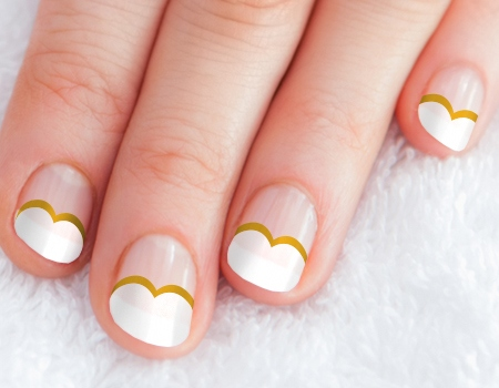 Elegant white & golden Heart nail art
