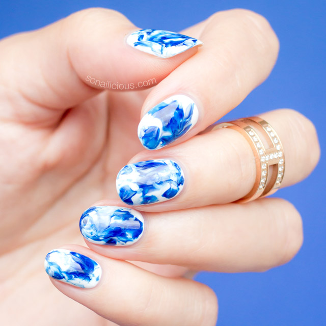 Epic Blue and White Marble Nail Art