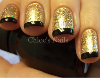Epic golden black combo Glitter nail art