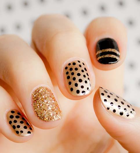 Epic golden black glitter Polka dots nail art