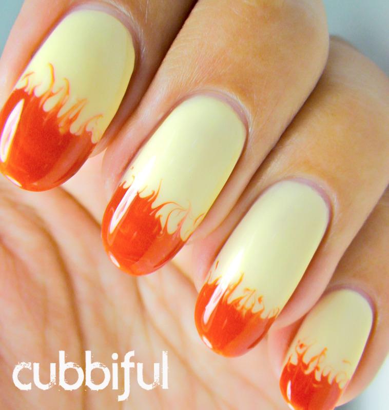 Epic orange and white fire design Ombre nail art