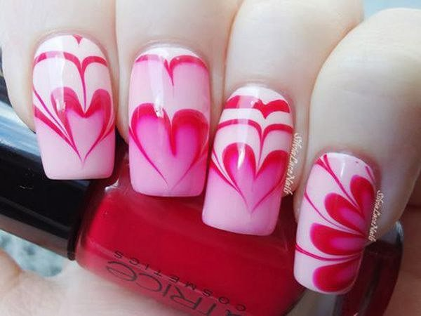 Epic pink marble Heart nail art