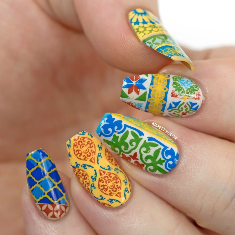 Epic traditional printed design gel Tiles nail art
