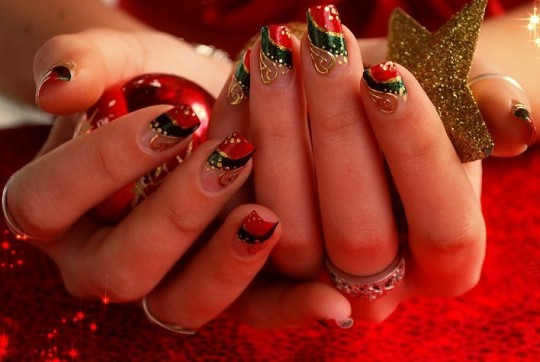 Epic triple color combi Christmas nail art