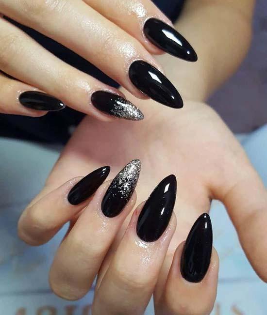 Fabulous Black  glitter Edgy nail art