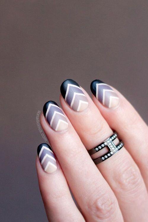 Fabulous V shaded Chevron design nail art