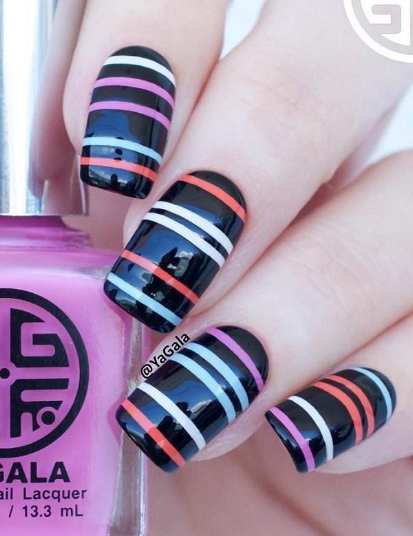 Fabulous black printed design Stripe nail art