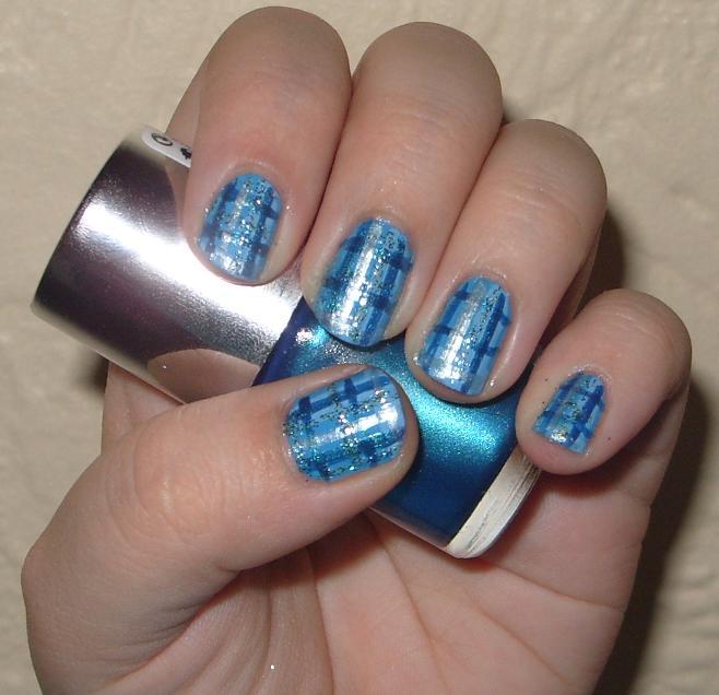 Fabulous blue design Tiles nail art
