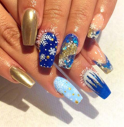 Fabulous blue & golden Edgy nail art