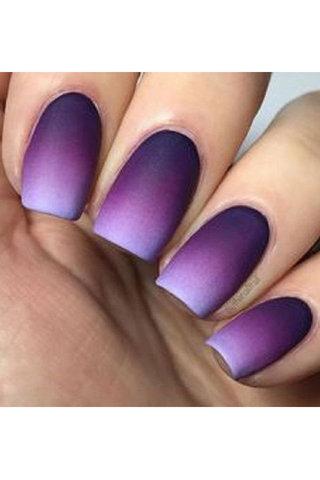 Fabulous purple matte Ombre nail art