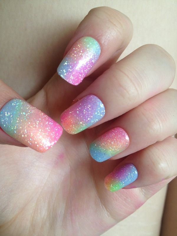 Fabulous rainbow Glitter nail art