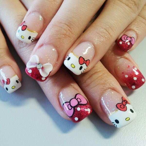 Fabulous red & white Hello kitty nail art