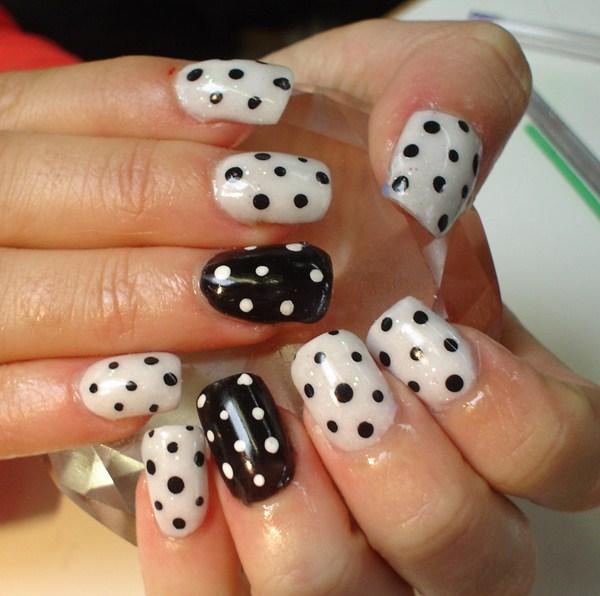 Fancy black white Polka dots nail art
