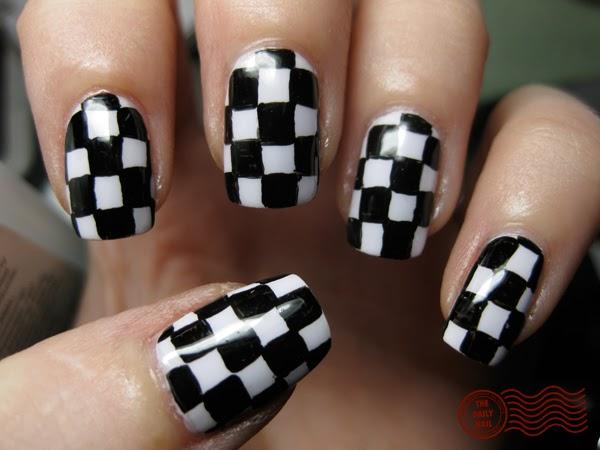 Fancy black white check Tiles nail art