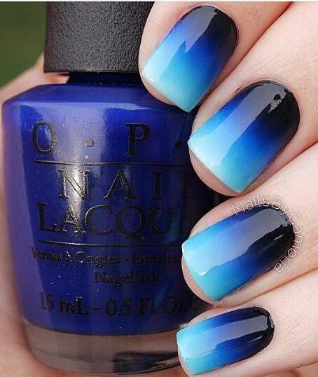 Fancy blue black combo Ombre nail art