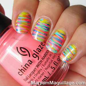 Fancy colorful design Stripe nail art