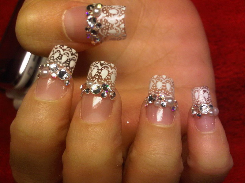 Fancy white gel Stones nail art