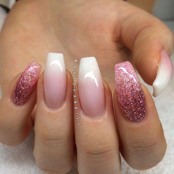 Fancy white glitter Wedding nail art