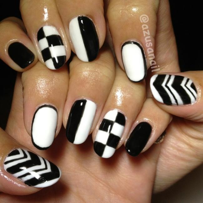 Fantasy white black design Tiles nail art