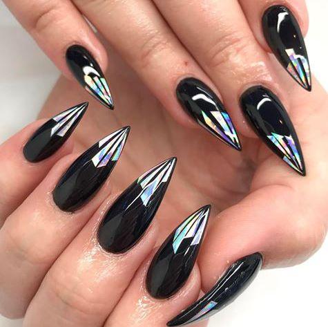 Fantastic black peacock look Edgy nail art
