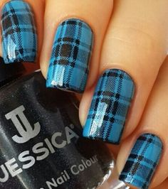 Fantastic blue black shirt design Tiles nail art