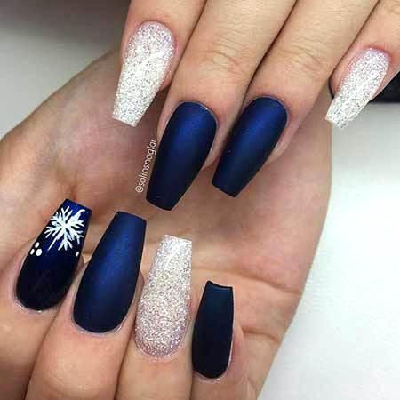 Fantastic flake blue glitter Matte nail art
