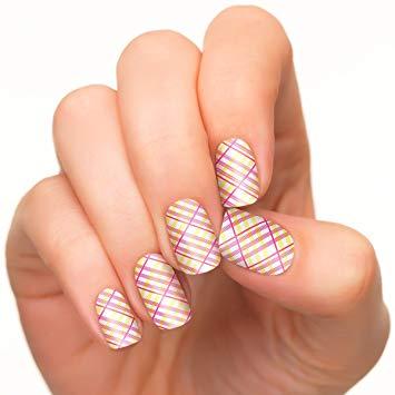 Fantastic pink yellow design Stripe nail art