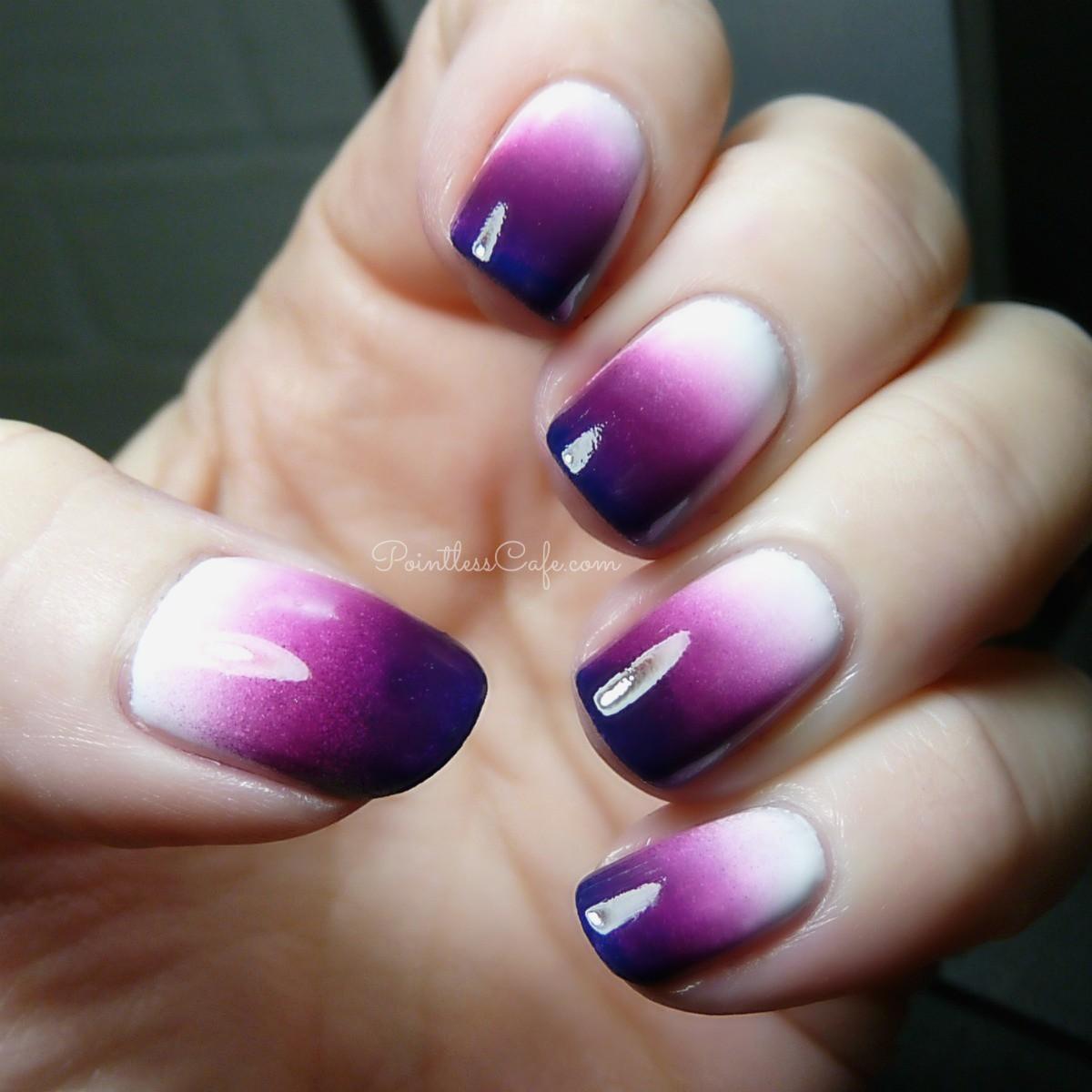 Fantastic purple white look design Ombre nail art
