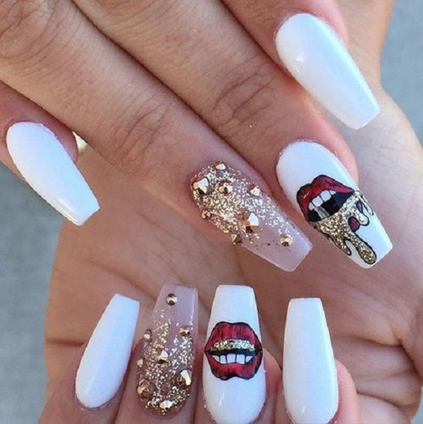 Fantastic white red lips glitter Stones nail art