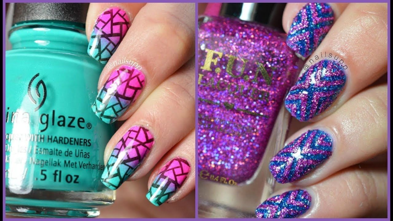 Fency floral blue Glitter nail art