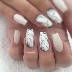 Fancy white Marble nail art
