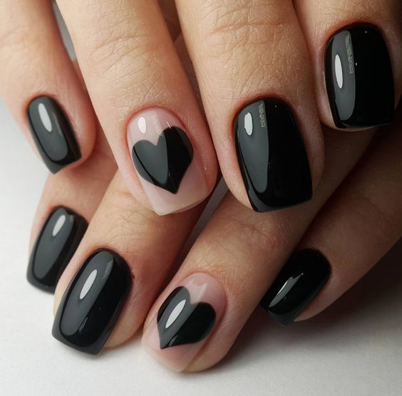 Forever black Heart nail art