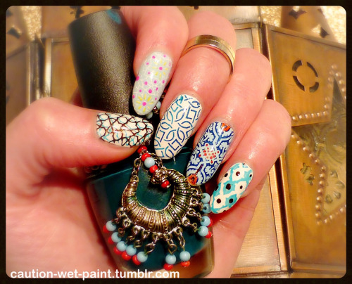 Girlish blue floral printed Tiles nail art
