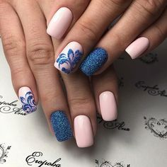 Girlish blue pink matte Three color nail art