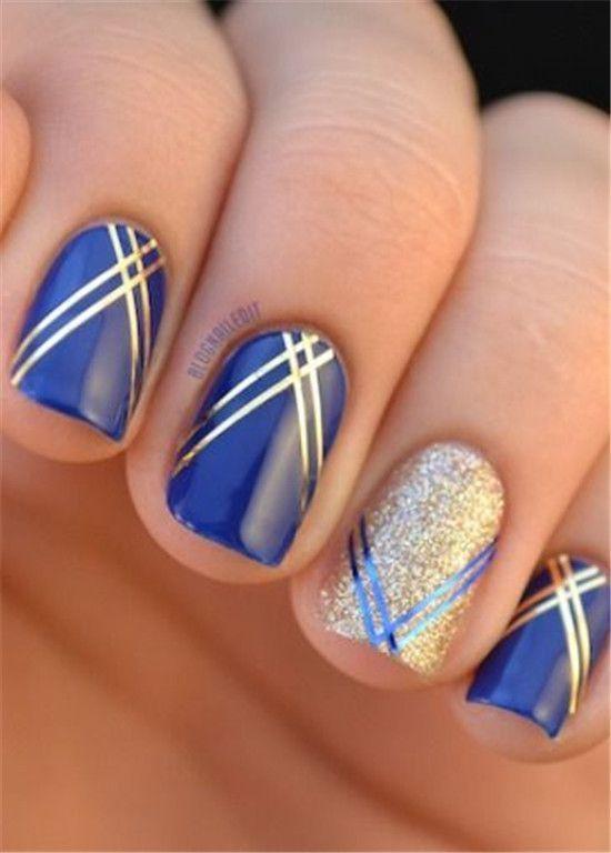 Girlish blue silver glitter Stripe nail art
