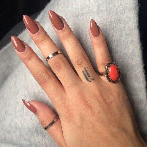 Girlish brown sharp Classy nail art