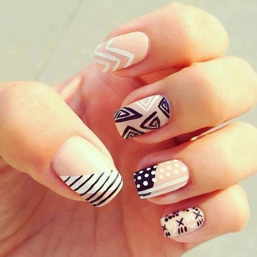 Girlish look blue white design Stripe nail art