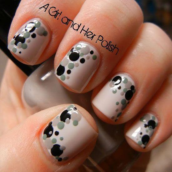 Girlish look grey black Polka dots nail art