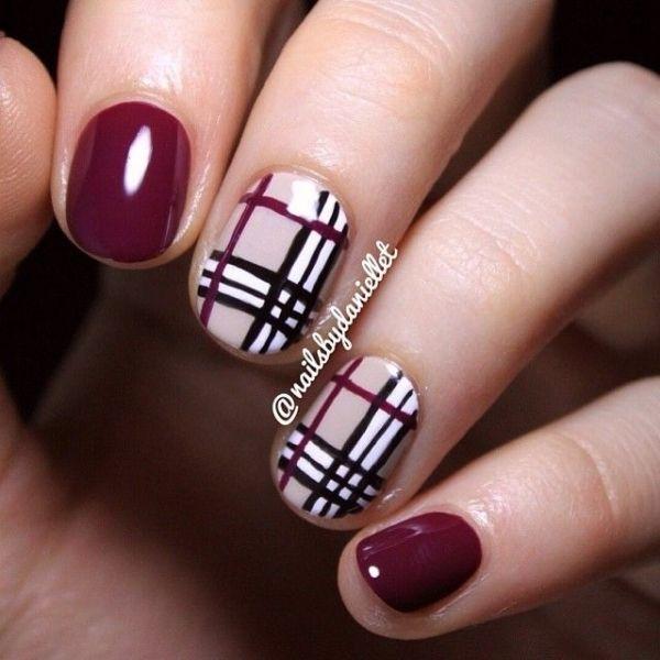 Girlish look purple design Tiles nail art
