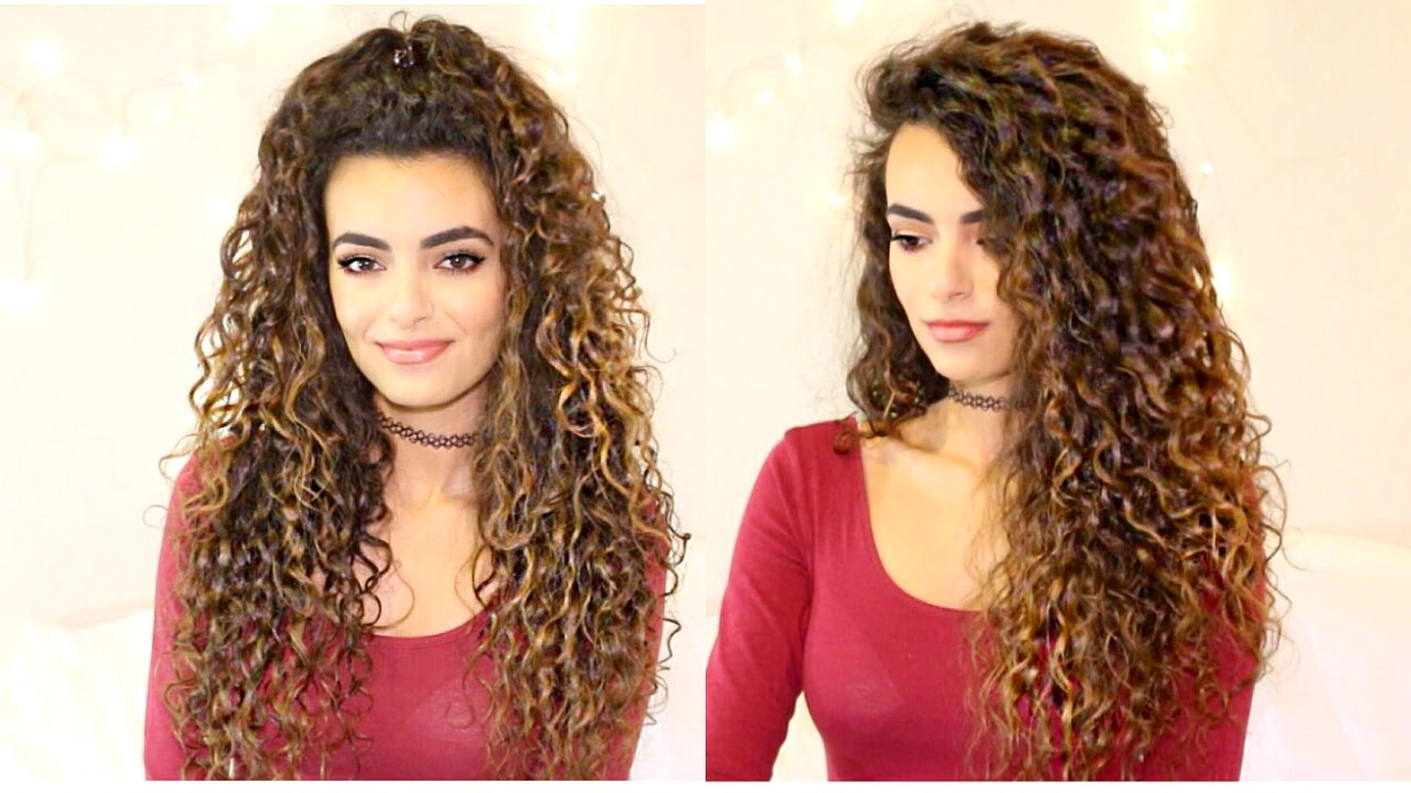 Girlish look style simple open or pinned Curly Hairstyle