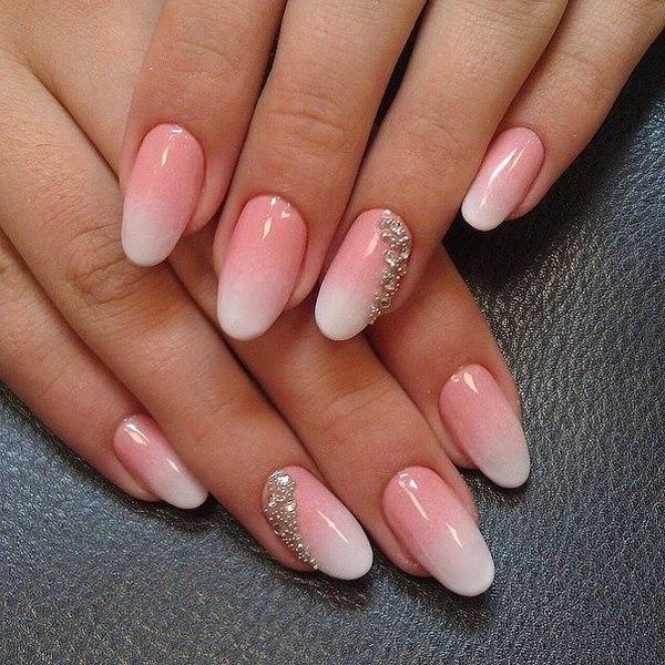 Girlish pink white stone design Ombre nail art