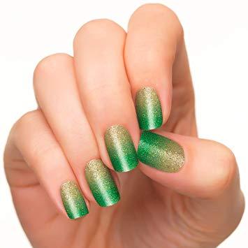 Glorious green glitter Ombre nail art
