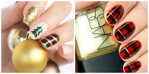 Golden & red Christmas tree Christmas nail art