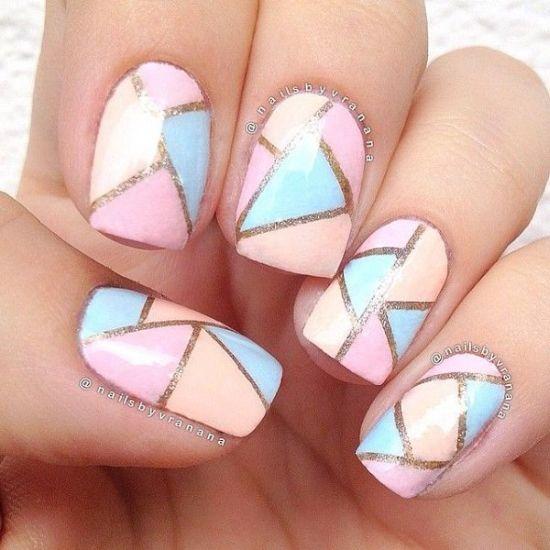 Golden triangle Chevron design nail art