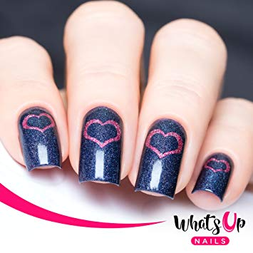 Gorgeous blue glitter Heart nail art