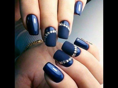 Gorgeous blue stones Matte nail art